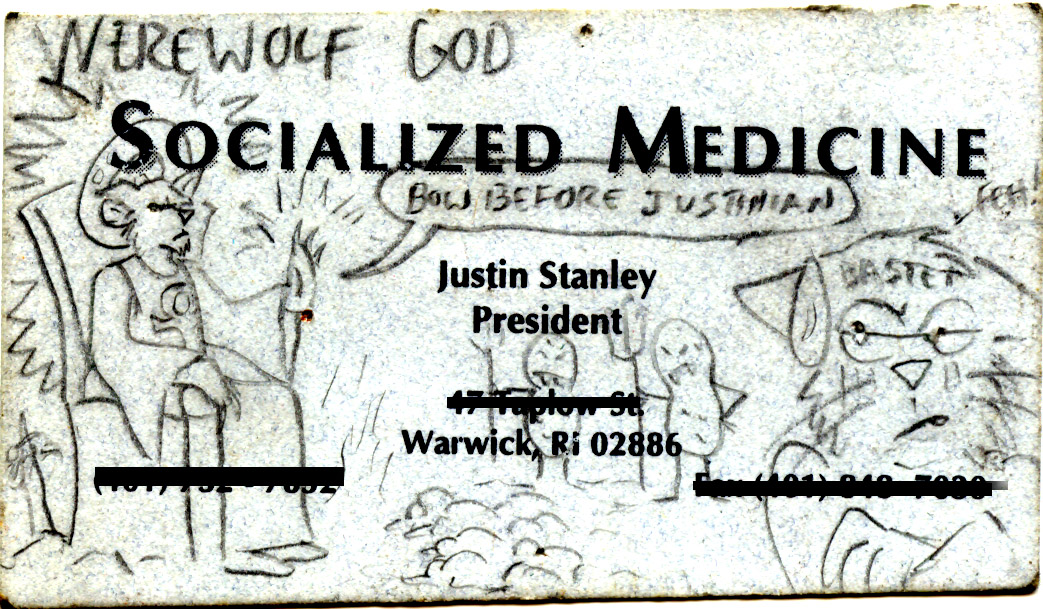 Werewolf God on old card by Syrena Seale
